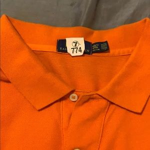 Orange Ralph Lauren Polo shirt.
